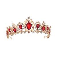 أغطية الرأس الرجعية الزفاف التاج متزوج الباروك الملكة الذهبي / أحمر / أخضر / فضي اللون للخيار فستان الزفاف اكسسوارات الكريستال الماس 100٪ اليدوية عالية الجودة