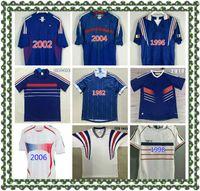 1982 1984 1996 1998 2000 2002 2004 2010 Jerseys de fútbol Francescoli Retro Vintage Zidane Henry Maillot De Pie