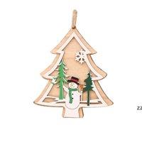 Weihnachtsdekorationen Baum Anhänger Holzschnitt Santa Claus Schnee Sterne Ring Glocken Hirsch Herz Zierlich Festival Geschenk Bäume Ornamente HWE10455