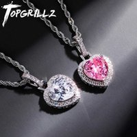 TOPGRILLZ 6 Color Heart Pendant Necklace High Quality Bling Iced Out Cubic Zirconia Hip Hop Fashion Jewelry Gift For Women A0526