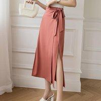 Skirts High Street Fashion Lace Up Waist Mid-length Skirt Women Spring Solid Color Side Slit Casual Summer Elegant Lady Skir