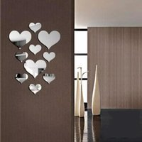 Mirrors 10 Pieces Of Acrylic Silver Love Mirror Stickers 3D Decals Modern Home Wall Art DIY Decorative