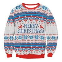 Women Christmas Sweaters Men Cartoon Santa Graphic Printed Jersey Navidad Funny Casual Pullover Festival Jumper Winter Clothes Women's