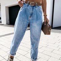 Women's Jeans Spring Washed Bleached Denim Womens Pants Thin High Waist Pocket Female Harem 2021 Solid Streetwear Casual Lady Trousers