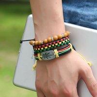 3Pcs Jamaica Leather Weed Hemp Cord Woven Braided Bracelets Rasta Reggae Bracelet Jeweley