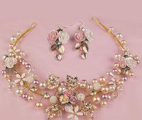 Crianças strass flor pérola coroa coroa zinco cristal pétalas guirlandas de casamento jóias com brincos meninas grandes acessórios de cabelo A6710