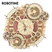 Robotime ROKR LC601 Zodiac Wall Clock 3d Wooden Puzzle Model Building Gifts 210907