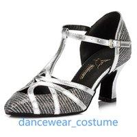 Sandals Women Professional Tango Ballroom Latin Dance Shoes Closed Toe Dancing Salsa For Ladies Girls High Heels US5-9 3CO
