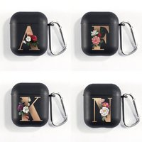 Cute Airpod Cases 2021 Floral Gold Initial Alphabet Letter Soft Case For AirPods 2 1 Black Silicone Wireless Earphone Box Matte Cover