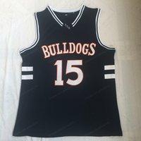 Navio de US Jermaine Cole # 15 Bulldogs High School Basketball Jersey Men's Stitched Blue Jerseys Tamanho S-3XL Top Quality