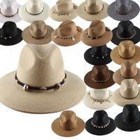 Wide Brim Hats Sun Fedora Women Men Hippie Straw Hat European American Retro Gold Braided Female Sunshade Flat Cap Visors