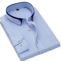 خمر الوقوف طوق مخطط قمصان يتأهل غير الحديد رجال الأعمال اللباس قميص طويل الأكمام الاجتماعية الذكور قمم الجبهة جيب الرجال عارضة