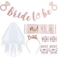 Bridal Veils 8Pcs Set Bachelorette Party Decorations Rose Gold Kit Bride To Be Sash Banners Headband Wedding Veil Tattoos Hen Night AXYD