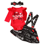 Clothing Sets My First Valentine's Day Girl 0-18M Born Baby Girls Clothes 3pcs Letter Print Long Sleeve Tops Strap Dress Headband