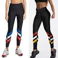 Leggings para mujer Qickitout Push up entrenamiento High Cintura Sportswear Color Rayas Impreso Negro Aptitud Medias Mujer
