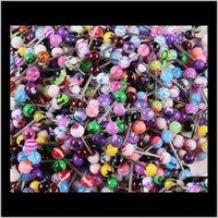 Labret, LIP Corps Drop Livraison 2021 Goujon acrylique mélangé pour femmes Candy Couleur Tangue Piercing Bague Barbell Bijoux Nibble PS2581 KNUEP