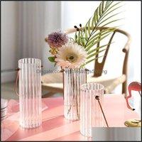 Vases Décor & Gardenvases Portable Glass Vase Crystal Flower Clear Home Decor Room Pot Modern Hydroponic Plants Wedding Decoration Drop Deli