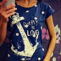 Women summer clothing kawaii ZSIIBO T shirt navy style anchors printing harajuku t-shirts tee plus size blusas 10 Colors White NVTX07-F