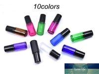 300pcs 10colors 5ml espessa roll de perfume de vidro na garrafa com bola de aço inoxidável frasco de óleo essencial rosa azul preto verde