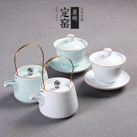 Tapa de horno de tazón taza taza taza taza taza cerámica kung fu set Celadon Beam Pot Sancai