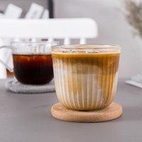 Canecas 280ml Transparente Listrado Latte Latte Copo de Café com Punho de Leite De Leite Suco Casa Bebida DIY Garland