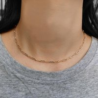 Pendant Necklaces 3mm 4mm Paperclip Rolo Link Rose Gold Color Chain Necklace For Women Stylish Collar Choker Elegant Neck Jewelry CN43