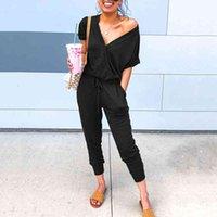 Yeni Ince Yaz Seksi Tulum Kadınlar Kısa Kollu Tulum Tulum Tulumlar Katı V Yaka Siyah Atlama Takım Elbise Cep Kadın Giysileri