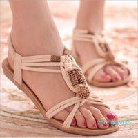 2021 Summer Fashion Flip Flops Women's Beach Sandals String Bead Black Elastic Bands Flat Shoes Gladiator Sandalias Mujer for Women