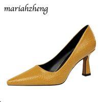 Mariahzheng كعب سميك عالية الكعب الضحلة الفم أشار الأفعى نمط أحذية واحدة أزياء مثير ملهى ليلي كان رقيقة ds الصنادل