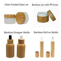 Storage Bottles & Jars Cosmetic 50pcs 50ml Bamboo Dropper Bottle 50g Frosted Clear Glass Jar With Pp Inner 15ml Perfume Roll On