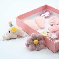 Pins çocuk saç seti hediye kutusu sevimli lastik bant bandı yay bebek firkete