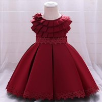 Girl's Dresses Born Toddler Baptism Dress 1st - 5 Years Birthday For Baby Girl Clothes Solid Princess Evening Party