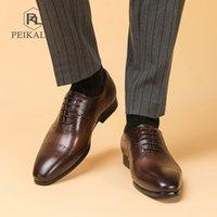 New Mens Shoes Mens Formal Dress Single Shoes Mens British Business Casual Leather Shoes Designer Men KV056