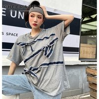 Women's T-Shirt CHEERART Short Sleeve Tees Streetwear T Shirt Crewneck Bow Summer Top 2021 Fashion Women White Grey Loose Tshirt Y2k