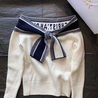 Женские свитера 2021 высокого качества дизайн белый вязаный падение / зима с длинным рукавом толстый пуловер свитер