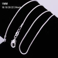 1mm 16 ~ 24 polegadas 925 esterlina cadeia de prata colar 925 colares de cobras carimbadas para mulheres moda jóias desconto barato 1 pcs