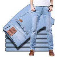 Suleo Brand Top Style Classic Style Men Ultra-Thin Jeans Business Casual Light Blue Stretch Cotone Pantaloni maschili maschili Uomo