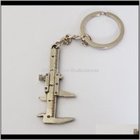 Keychains Fashion Aessories Drop Delivery 2021 Arrival Movable Vernier Caliper Ruler Model Keychain Metal Pendant Key Chain Chaveiro C Kole4