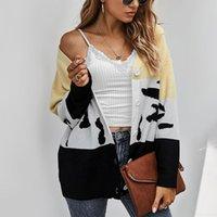 Winter Jacket Women Casual Leopard Print Long Sleeves Cardigan Knit Button Sweater Coat Chaquetas De Mujer Women's Jackets