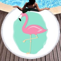 Wholesale- Tropical Leaves Microfiber Round Beach Towel Blanket 150cm Summer Camp Yoga Mat Swimming Bath Towel Living Room Home Decor