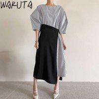Wakuta elegante vestido maxi de rayas + lado faldas largas de 2 piezas Juego de mujeres Mujeres Korean Design Ladies Office Oficina de verano Vestidos de manga 210529