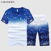 CARANFIER Homme T-shirt Hommes Vêtements Vêtements Stetswear Ensemble Fitness Summer Imprimer Hommes Shorts + T-shirt Studes de costume pour hommes Plus Taille 5XL X0610