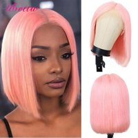 Slightly Colored Human Hair Wigs 13x4 Pink Bob Lace Front Wig Straight Pre Plucked With Baby For Black Women