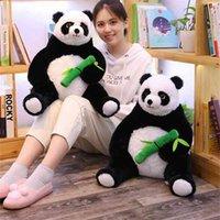 50 cm gordura dos desenhos animados panda abraçando brinquedos de pelúcia de bambu para crianças macio animal boneca crianças presentes meninas adorável travesseiro 210426