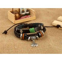 bracelet Cow leather Maple Leaf Pendant multi layer Beaded Bracelet jewelry