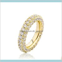 Band Jewelrymen Women Hip Hop Jewelry Luxury 3 Rows Bling Zircon Fashion 18K Gold Rhodium Plated Couple Rings Drop Delivery 2021 I2Lt3