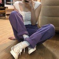 Jeans Frauen Ulzzang plus Größe Denim Weibliche Hohe Taille Ästhetische Design Ganzkörperansicht Dame Houses Vintage College Straight Baggy Y0320