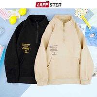 LAPPSTER Men Harajuku Fleece Oversized Zip Up Hoodie 2021 Mens Japanese Streetwear Pullover Sweatshirts Male Black Y2k Hoodies Q0814