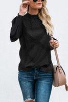 Women's T-Shirt Fashion Lace Geometric Stitching Long-Sleeved Upper Garment Black Pink O-Neck Women Shirts