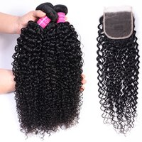 High Quality Brazilian Virgin Human Hair Curly 3 Bundles Natural 1B Color Indian Peruvian Malaysian Hair Extensions Weaves lace Closure 4x4